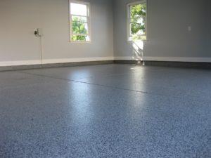 garage floor with epoxy flake system