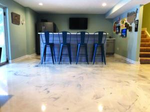 metallic epoxy floor coating in a basement
