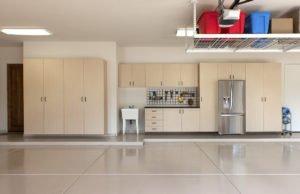 garage floor coating and cabinets