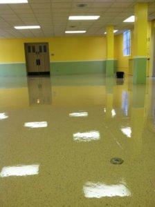 epoxy flooring in public school building