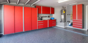 red garage cabinets and epoxy flooring