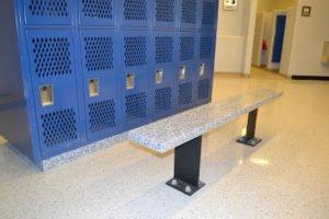 epoxy flake floor in school locker room