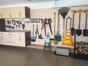 garage cabinet and slatwall organizer